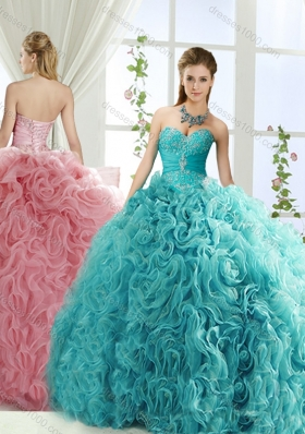 Beaded and Applique Big Puffy Detachable Quinceanera Gowns in Aqua Blue