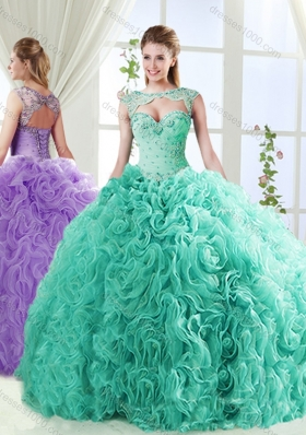Big Puffy Brush Train Detachable Quinceanera Dresses with Beading and Appliques