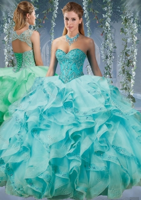 Classical Beaded and Applique Big Puffy Quinceanera Dress in Aqua Blue