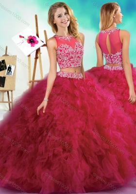 Classical Beaded and Ruffled Fuchsia Quinceanera Dress with See Through