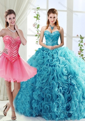 Classical Big Puffy Beaded Detachable Quinceanera Dresses in Rolling Flower