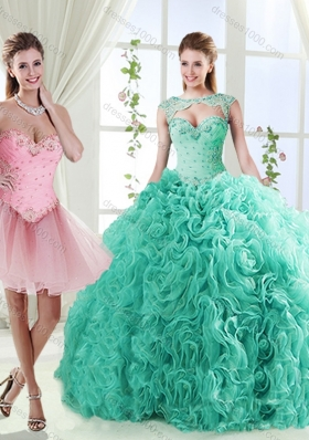 Elegant Beaded and Applique Detachable Quinceanera Gowns in Rolling Flower