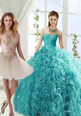 Elegant Big Puffy Rolling Flowers Detachable Quinceanera Dresses with Beading and Appliques