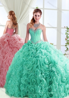 Exclusive Beaded Really Puffy Detachable Quinceanera Gowns in Rolling Flowers