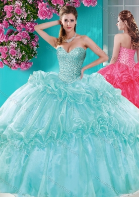 Exquisite Beaded and Pick Ups Quinceanera Dresses with Really Puffy