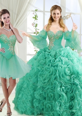 Feminine Beaded Detachable Quinceanera Gowns in Rolling Flower