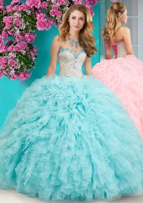 Feminine Really Puffy Floor Length Quinceanera Dress with Beading and Ruffles