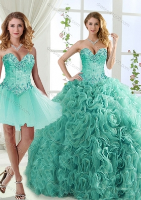 Feminine Visible Boning Beaded Detachable Quinceanera Dress in Rolling Flowers