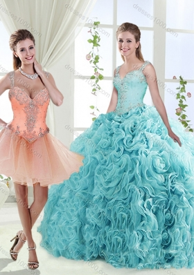 Gorgeous Beaded Straps Detachable Quinceanera Gowns with See Through Back