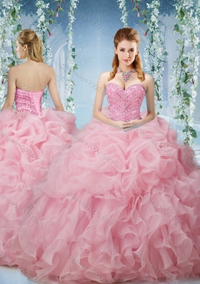 Lovely Baby Pink Brush Train Quinceanera Dresses Beaded and Ruffled