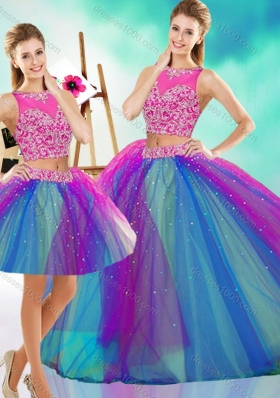 Lovely Beaded Scoop Tulle Detachable Quinceanera Gown in Rainbow Colored