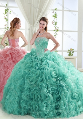 Lovely Brush Train Mint Detachable Quinceanera Dresses with Beading