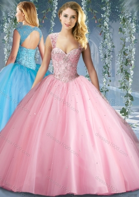 Lovely Pink Big Puffy Beaded Quinceanera Dress