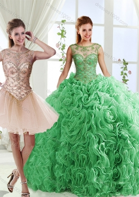 Luxurious See Through Scoop Green Detachable Quinceanera Gowns with Brush Train