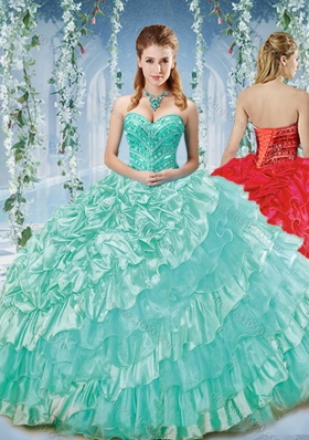Modest Beaded and Ruffled Big Puffy Quinceanera Dress in Organza and Taffeta