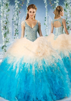 Modest Beaded Decorated Cap Sleeves Quinceanera Dress in Blue and Champagne