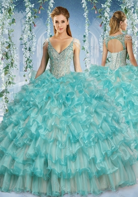 Popular Deep V Neck Big Puffy Quinceanera Dress with Beaded Decorated Cap Sleeves