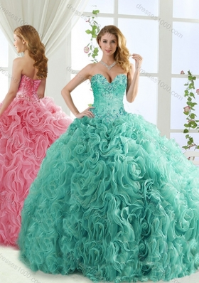 Popular Rolling Flower Mint Detachable Quinceanera Gowns with Brush Train