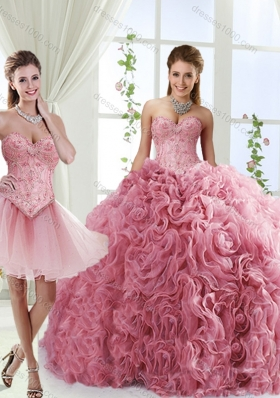Romantic Beaded and Rolling Flowers Detachable Quinceanera Dresses with Brush Train