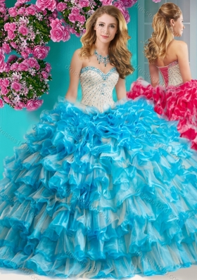 Romantic Beaded and Ruffled Layers Quinceanera Dress with Really Puffy