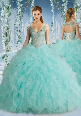 The Super Hot Beaded Decorated Cap Sleeves Quinceanera Dress with Deep V Neck