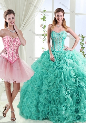 Visible Boning Rolling Flowers Detachable Quinceanera Gowns with Beading
