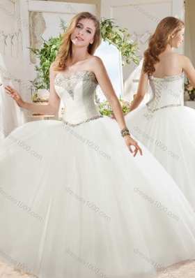 White Ball Gown Sweetheart Beaded Organza Quinceanera Dress in Tulle