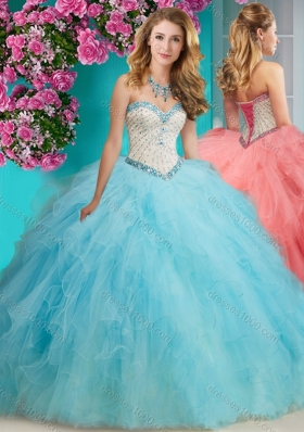 Affordable Beaded and Ruffled Organza Quinceanera Dresses with Big Puffy