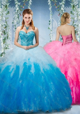 Artistic Gradient Color Big Puffy  Sweet Fifteen Dresses with Beading and Ruffles