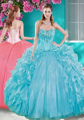 Beaded Bodice Aqua Blue Sweet Fifteen Gown with Removable Skirt