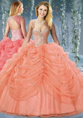 Classical Beaded and Bubble Big Puffy Organza Sweet 15 Dress in Orange Red