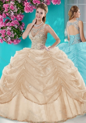 Classical Big Puffy Champagne Quinceanera Dress with Beading and Bubbles