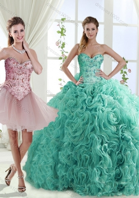 Decent Rolling Flowers Really Puffy Sweet Fifteen Dresses with Beading