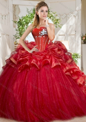 Discount Tulle Beaded and Ruffled Sweet 15 Dress in Red