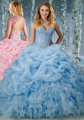Elegant Brush Train Big Puffy Sweet Fifteen Dresses with Beading and Ruffles
