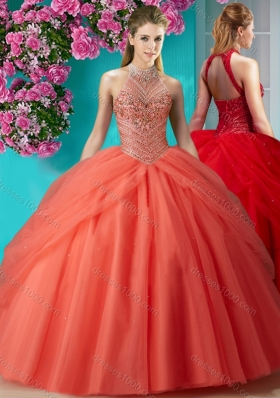 Elegant Halter Top Beaded and Applique Sweet Fifteen Dresses in Orange Red