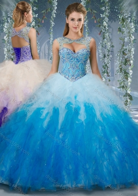 Exclusive Beaded and Ruffled Organza Sweet Fifteen Dresses in Gradient Color