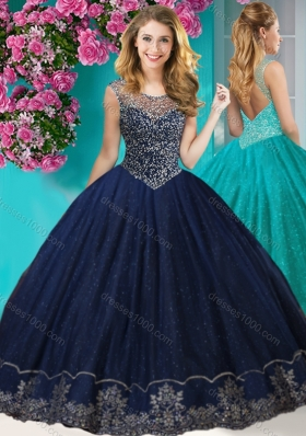 Fashionable See Through Scoop Quinceanera Dress with Beading and Appliques