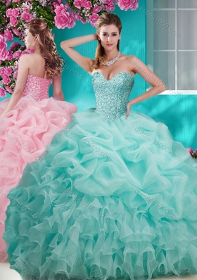 Flirting Brush Train Really Puffy Sweet Fifteen Dresses with Beading and Ruffles