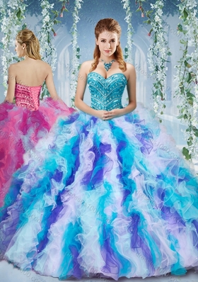 Gorgeous Rainbow Colored Big Puffy  Sweet Fifteen Dresses with Beading and Ruffles