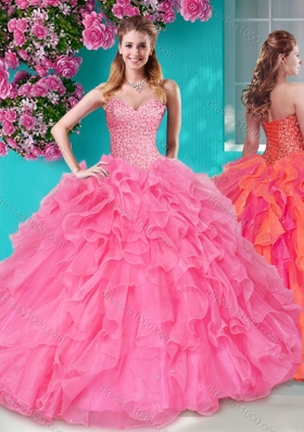 Lovely Beaded and Ruffles Sweetheart Quinceanera Dress in Big Puffy