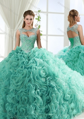 Lovely Sweetheart Beaded Detachable Sweet Fifteen Dresses with Rolling Flower