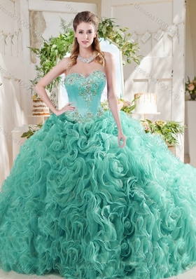 Luxurious Rolling Flower Big Puffy Mint Quinceanera Gown with Beading