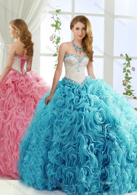 Modest Brush Train Beaded Baby Blue Detachable Sweet 15 Dresses in Rolling Flowers