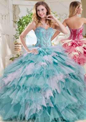 Popular Beaded and Ruffled Big Puffy Sweet 15 Dress in Blue and White