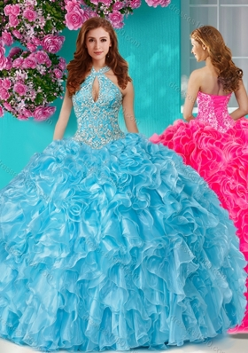 Pretty Beaded and Ruffled Big Puffy Sweet Fifteen Dresses with Halter Top