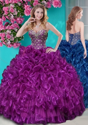 Really Puffy Ruffled and Rhinestoned Beaded Bodice Aqua Blue Quinceanera Gown with Removable Skirt Dress with Blue Beading