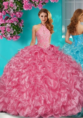 Sophisticated Halter Top Puffy Skirt Quinceanera Dress in Beading and Ruffles