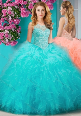 Sophisticated See Through Beaded Scoop Sweet 15 Dress with Ruffles