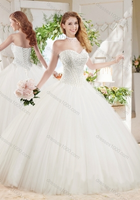 White Ball Gown Sweetheart Court Train Beaded Sweet Fifteen Dress in Tulle